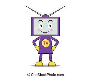 monitor, tv, -, personagem, ilustração, vetorial, fundo, branca, feliz, caricatura, mascote