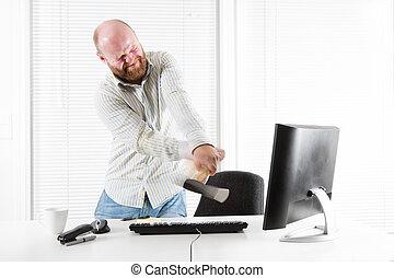 monitor, ufficio, arrabbiato, lavoratore, allegare, ascia