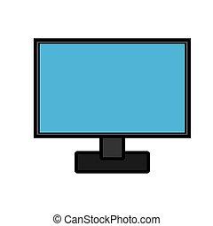 monitor, vetorial, laptop, modernos, isolado, ilustração, retangular, experiência., computador, esperto, digital, branca, tecnologias, concept:, ícone