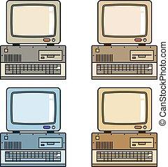 monitor, vindima, conduzir, computador, retro, teclado