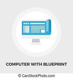 Monitor whit blueprint flat icon