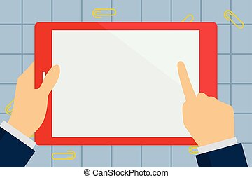 monitor., wideoklipy, smartphone, dookoła, spoinowanie, tablet., rozsiadły, screen., handheld, ręka, papier, dotykanie, device., palec, dzierżawa, czysty, biznesmen, biały, prostokątny, barwny, opróżniać