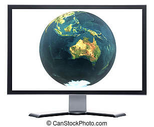 monitor with 3D globe