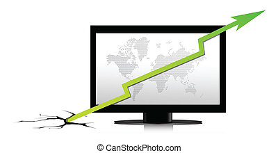 Monitor with a green graph