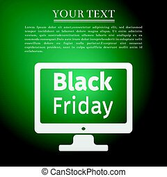Monitor with Black Friday Sale on screen flat icon over green background. Vector Illustration