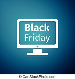 Monitor with Black Friday Sale on screen icon isolated on blue background. Flat design. Vector Illustration
