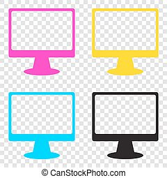 Monitor with brush sign. CMYK icons on transparent background. C