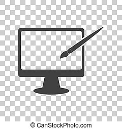 Monitor with brush sign. Dark gray icon on transparent background.