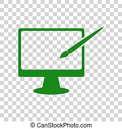 Monitor with brush sign. Dark green icon on transparent background.