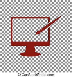 Monitor with brush sign. Maroon icon on transparent background.