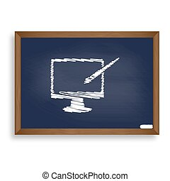 Monitor with brush sign. White chalk icon on blue school board w