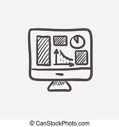 Monitor with business graph sketch icon