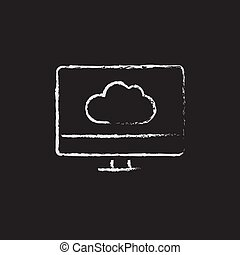 Monitor with cloud drawn in chalk