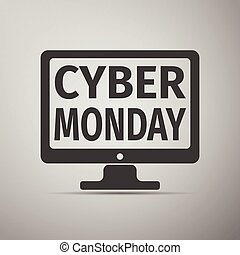 Monitor with Cyber Monday on screen flat icon over grey background. Vector Illustration