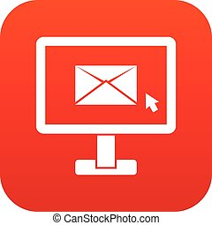Monitor with email sign icon digital red