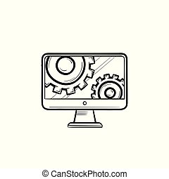 Monitor with gears hand drawn outline doodle icon.