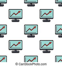 Monitor with graph seamless pattern in cartoon style isolated on white background vector illustration