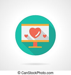 Monitor with hearts flat round vector icon