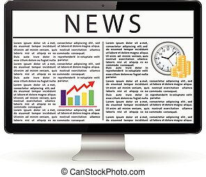 Monitor with news on the screen