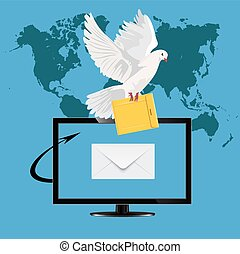 monitor with postal dove, vector
