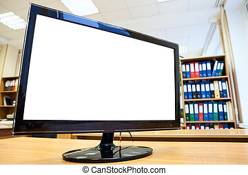Monitor with white isolated screen for simple text on office desk