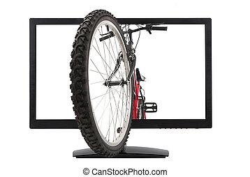 monitor, y, bicicleta montaña