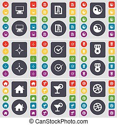 Monitor, ZIP file, Yin-Yang, Compass, Tick, Medal, House, Cocktail, Ball icon symbol. A large set of flat, colored buttons for your design. Vector