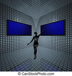 monitoren, in, gitter, zimmer