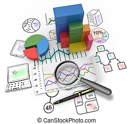 Monitoring business - Magnifying glass and pen over graph as...