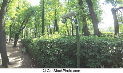 Monitoring Camera in park - In city park surveillance camera