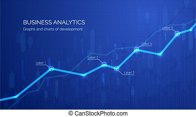 Monitoring finance profit and statistic. Graph chart of stock market investment trading. Abstract analisys and statistic diagram. vector illustration