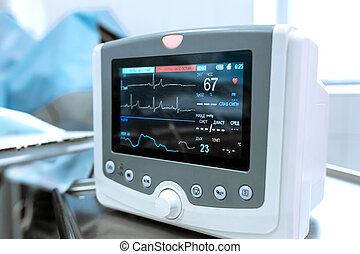 Monitoring of ECG, blood pressure, saturation of the patient during surgery. Cardiac monitor