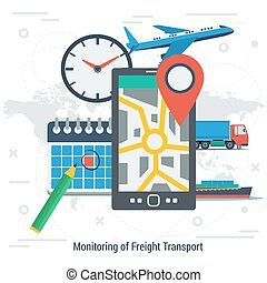 Monitoring of freight transport concept - Vector square...