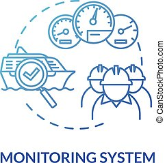 Monitoring system blue concept icon. Check propulsion engine. Boat machinery offshore maintenance. Ship crew work idea thin line illustration. Vector isolated outline RGB color drawing