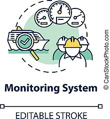 Monitoring system concept icon. Check propulsion engine. Boat machinery offshore maintenance. Ship crew work idea thin line illustration. Vector isolated outline RGB color drawing. Editable stroke