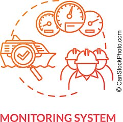 Monitoring system red concept icon. Check propulsion engine. Boat machinery offshore maintenance. Ship crew work idea thin line illustration. Vector isolated outline RGB color drawing
