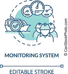 Monitoring system turquoise concept icon. Boat machinery offshore maintenance. Ship crew work idea thin line illustration. Vector isolated outline RGB color drawing. Editable stroke