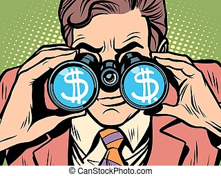 Monitoring the currency dollar exchange rate pop art retro...