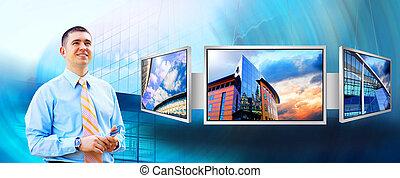 monitors, бизнесмен, бизнес, счастье, студия