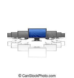 monitors in a row isolated on a white