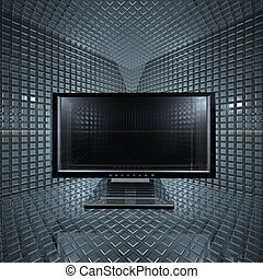 monitor in glass grid room