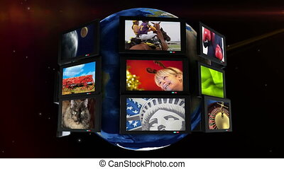 Monitors spinning around earth