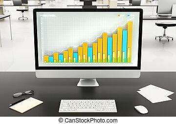 monitorwith, handlowy, wykres, z, klawiatura, okulary, i, czysty, pamiętnik