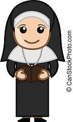 monja, lectura, biblia, -, caricatura, vector