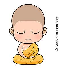 monje budista, caricatura