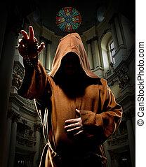 monje, predicación, iglesia