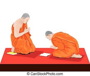 monjes, diseño, penitencia, dos, budismo, vector