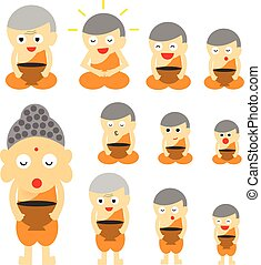 monk action cute cartoon