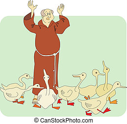 monk and geese