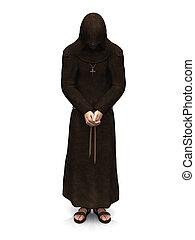 monk., cristiano, contemplando